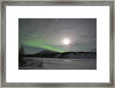 The Moon Rises Over A Curtain Of Green Framed Print by Hugh Rose