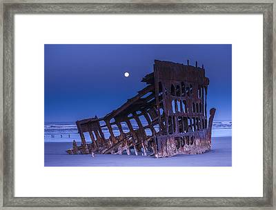 The Moon Sets Over The Wreck Framed Print by Robert L. Potts