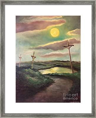 The Moon With Three Crosses Framed Print by Randy Burns