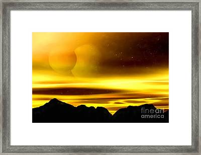 Framed Print featuring the painting The Moons Of Midas by Pet Serrano