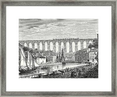 The Morlaix Viaduct On The Paris To Brest Railway Line Framed Print by English School