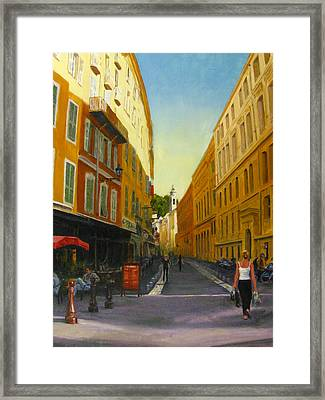 The Morning's Shopping In Vieux Nice Framed Print by Connie Schaertl