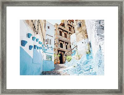 The Moroccan Blue City, Chefchaouen Framed Print by Oscar Wong