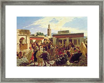 The Moroccan Storyteller Framed Print by Alfred Dehodencq