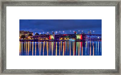 Framed Print featuring the photograph Morrison Bridge Reflections by Thom Zehrfeld