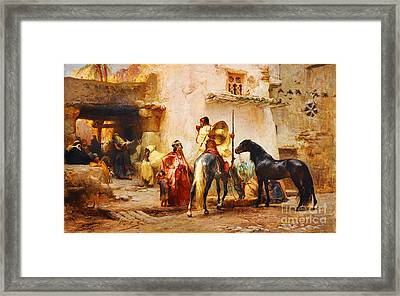 The Mosque Fountain In Algeria Framed Print by Celestial Images