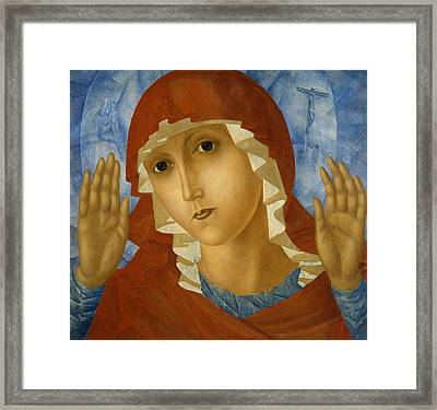 The Mother Of God Of Tenderness Towards Evil Hearts Framed Print by Kuzma Petrov-Vodkin