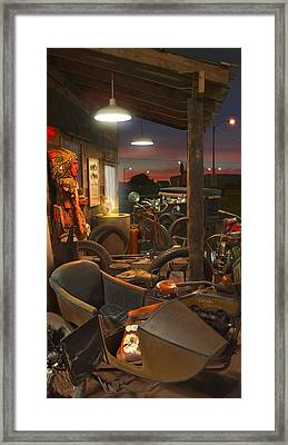 The Motorcycle Shop 2 Framed Print