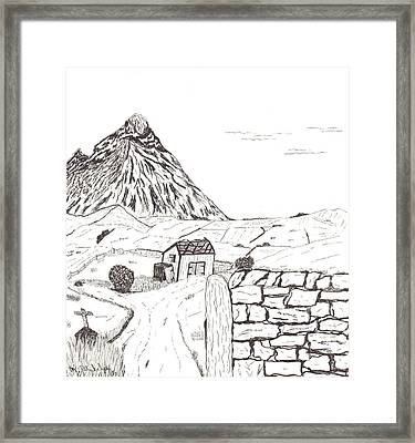 The Mountain Beyond The Fields Framed Print