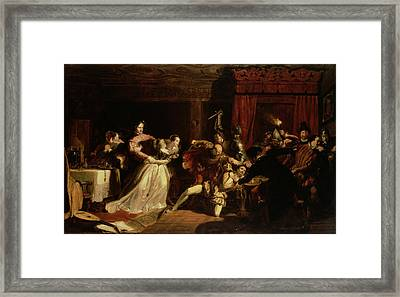 The Murder Of David Rizzio, 1833 Oil On Panel Framed Print by Sir William Allan