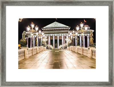 The Museum Buildin At Night. Framed Print by Slavica Koceva