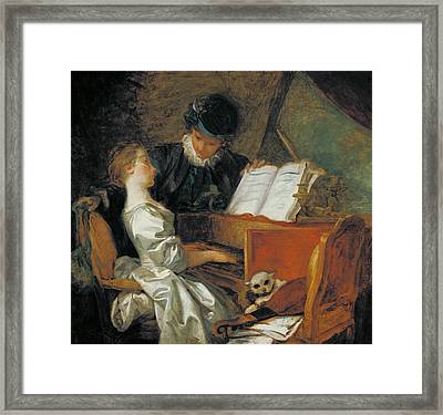 The Music Lesson Oil On Canvas Framed Print by Jean-Honore Fragonard