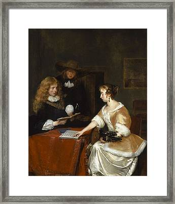 The Music Party, C.1668-70 Oil On Panel Framed Print by Gerard ter Borch or Terborch