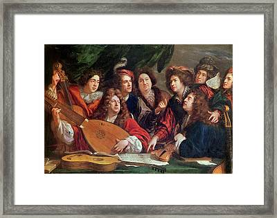 The Musical Society, 1688 Oil On Canvas Framed Print by Francois Puget
