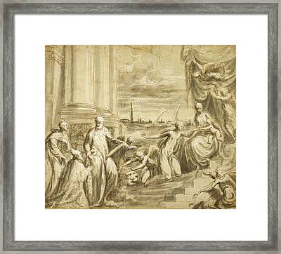 The Mystic Marriage Of Saint Catherine With Saints Framed Print