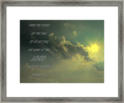 The Name Of The Lord Clouds And Sun Framed Print