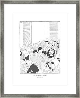 The National Capital  Rumor Hour Framed Print by Gluyas Williams