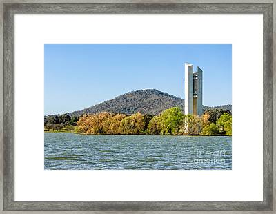 The National Carillon And Lake Burley Griffin - Canberra - Australia Framed Print by David Hill