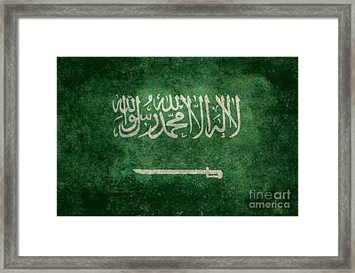 The National Flag Of  Kingdom Of Saudi Arabia  Vintage Version Framed Print