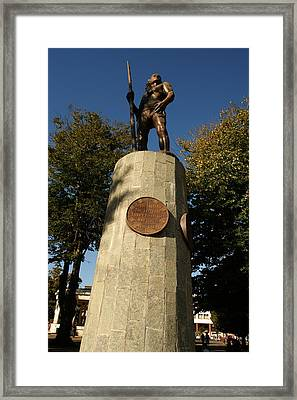 The Native Indian Lautaro -plaza Concepcion Framed Print by Thomas D McManus