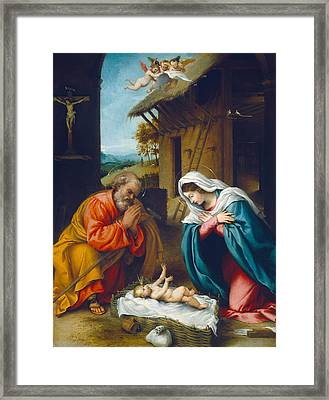 The Nativity 1523 Framed Print by Lorenzo Lotto