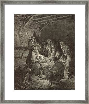 The Nativity Framed Print by Antique Engravings