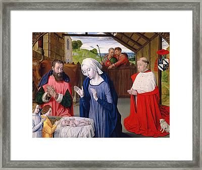 The Nativity Of Cardinal Rolin Oil On Panel Framed Print by Master of Moulins