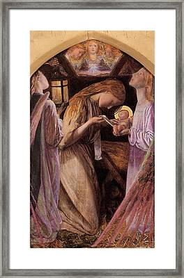 The Nativity With Angel Framed Print by Arthur Hughes