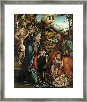 The Nativity With The Infant Baptist And Shepherds Framed Print by Follower of Sodoma