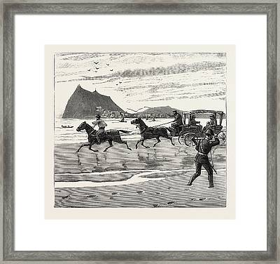 The Navy Cup At Gibraltar, Returning Home Across The Sands Framed Print