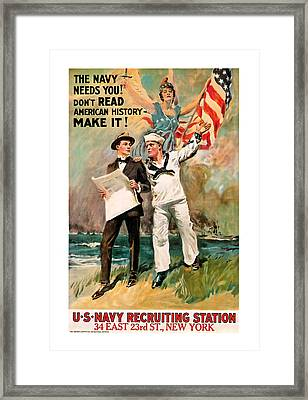 Framed Print featuring the mixed media The Navy Needs You by Presented By American Classic Art
