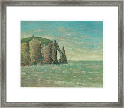 The Needle At Etretat Framed Print by Claude Emile Schuffenecker