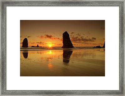 The Needles At Haystack - Cannon Beach Sunset  Framed Print