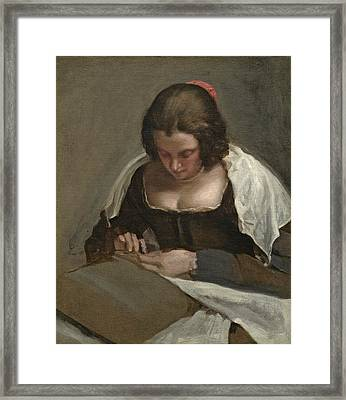 The Needlewoman, C.1640-50 Framed Print by Diego Rodriguez de Silva y Velazquez