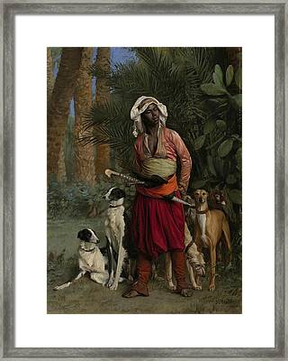 The Negro Master Of The Hounds Framed Print by Jean-Leon Gerome