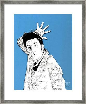 The Neighbor On Blue Framed Print