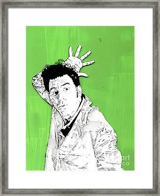 the Neighbor on green Framed Print