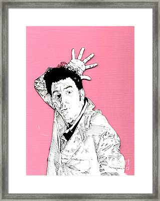 The Neighbor On Pink Framed Print by Jason Tricktop Matthews