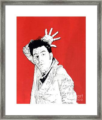 the Neighbor on red Framed Print