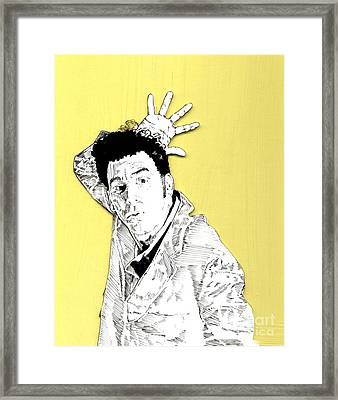 The Neighbor On Yellow Framed Print by Jason Tricktop Matthews