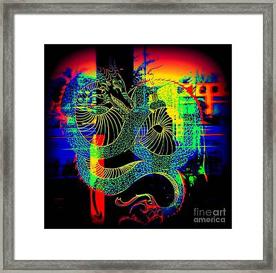 The Neon Dragon Framed Print by Kelly Awad