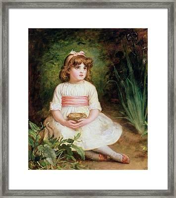 The Nest Oil On Canvas Framed Print by Sir John Everett Millais