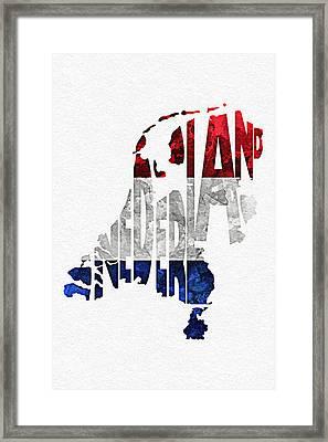The Netherlands Typographic Map Flag Framed Print by Ayse Deniz