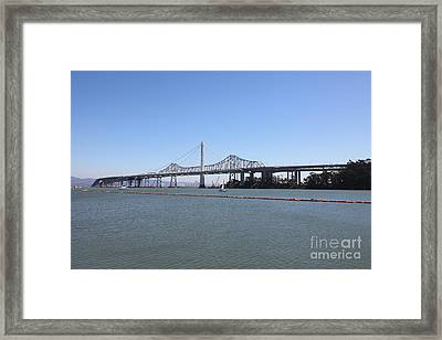The New And The Old Bay Bridge San Francisco Oakland California 5d25359 Framed Print by Wingsdomain Art and Photography