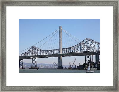 The New And The Old Bay Bridge San Francisco Oakland California 5d25361 Framed Print by Wingsdomain Art and Photography