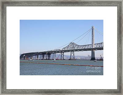 The New And The Old Bay Bridge San Francisco Oakland California 5d25364 Framed Print by Wingsdomain Art and Photography