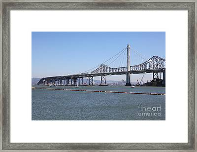 The New And The Old Bay Bridge San Francisco Oakland California 5d25365 Framed Print by Wingsdomain Art and Photography