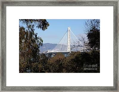 The New And The Old Bay Bridge San Francisco Oakland California 5d25398 Framed Print by Wingsdomain Art and Photography