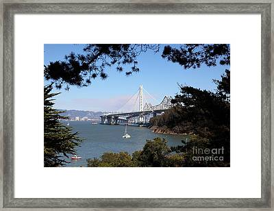 The New And The Old Bay Bridge San Francisco Oakland California 5d25404 Framed Print by Wingsdomain Art and Photography