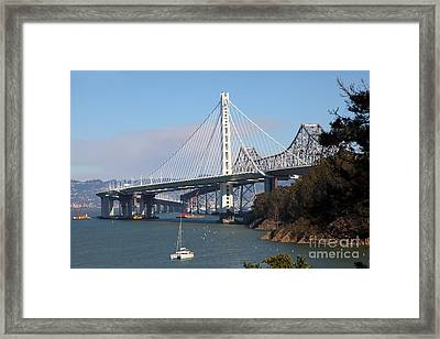 The New And The Old Bay Bridge San Francisco Oakland California 5d25405 Framed Print by Wingsdomain Art and Photography